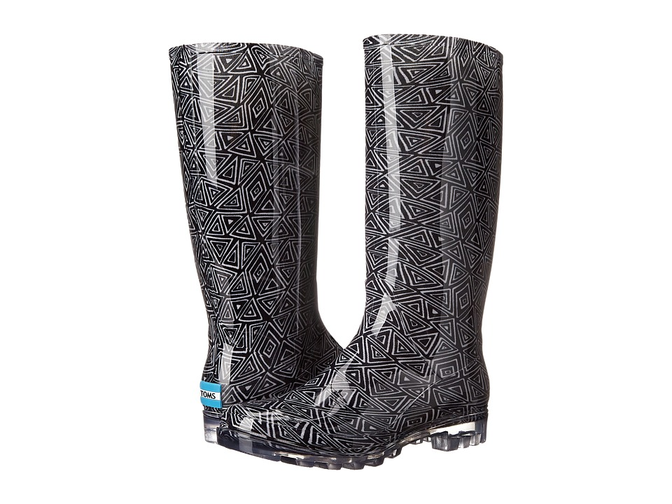 TOMS - Cabrilla Rain Boot (Black White Tribal Print) Women's Rain Boots