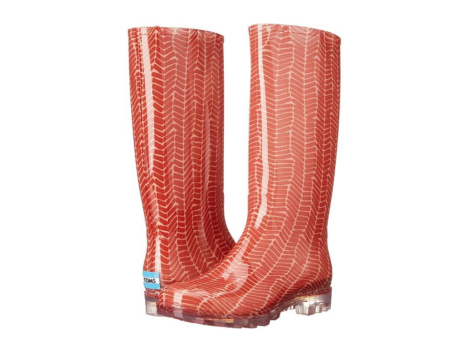 TOMS Cabrilla Rain Boot (Picante Red Herringbone Print) Women
