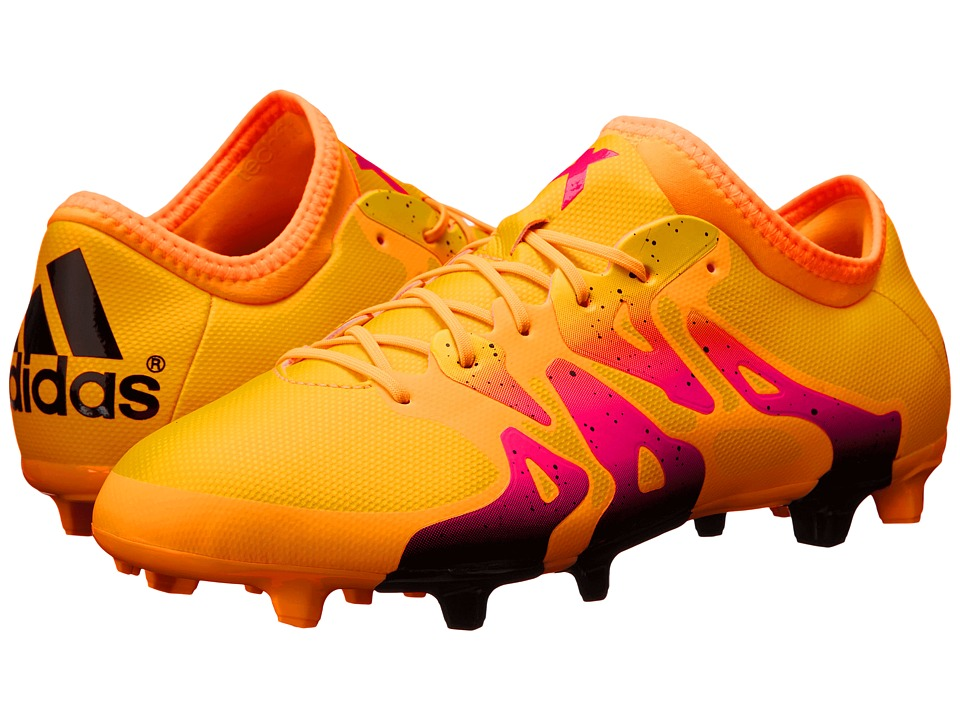 adidas - X 15.2 FG/AG (Solar Gold/Black/Shock Pink) Men's Cleated Shoes