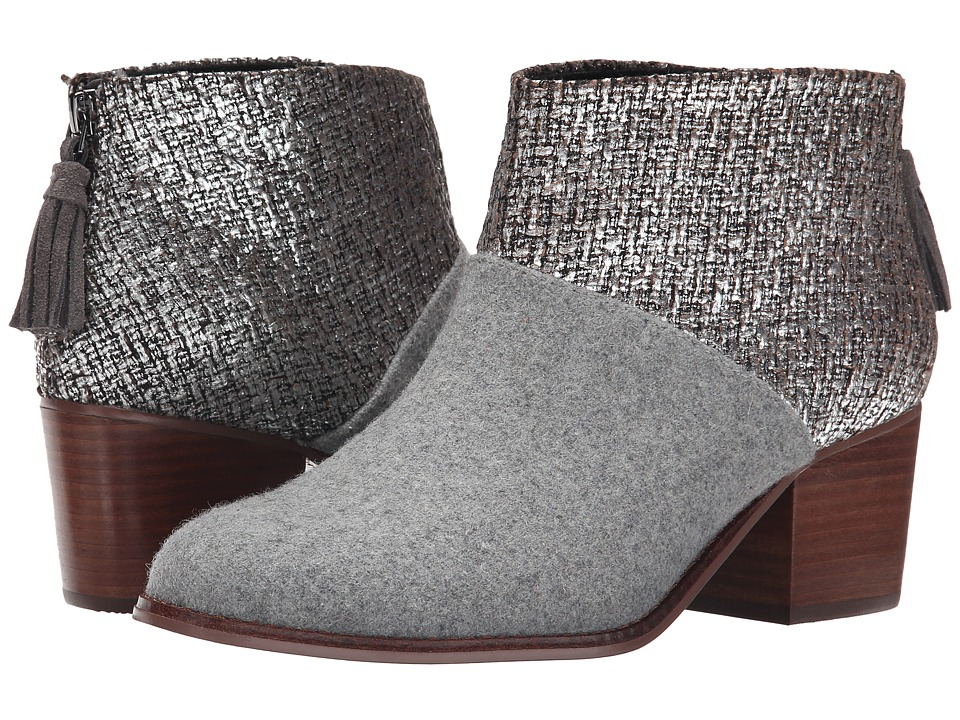 TOMS - Leila Bootie (Grey Felt Shine Boucle) Women's Zip Boots
