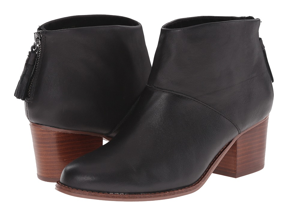 TOMS Leila Bootie (Black Full Grain Leather) Women