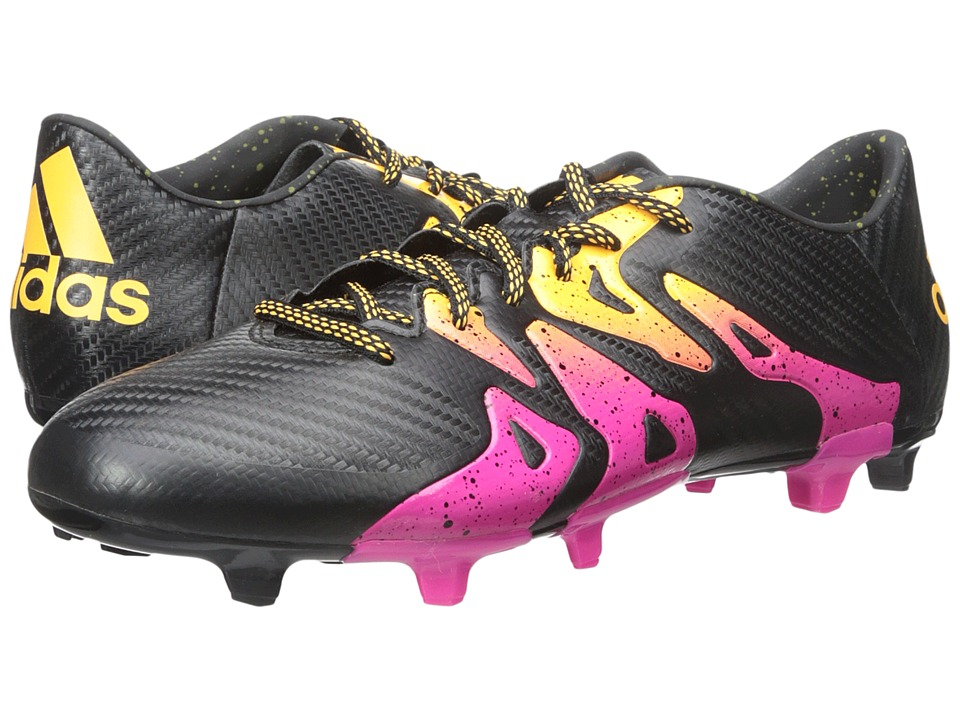 adidas - X 15.3 FG/AG (Black/Shock Pink/Solar Gold) Men's Cleated Shoes