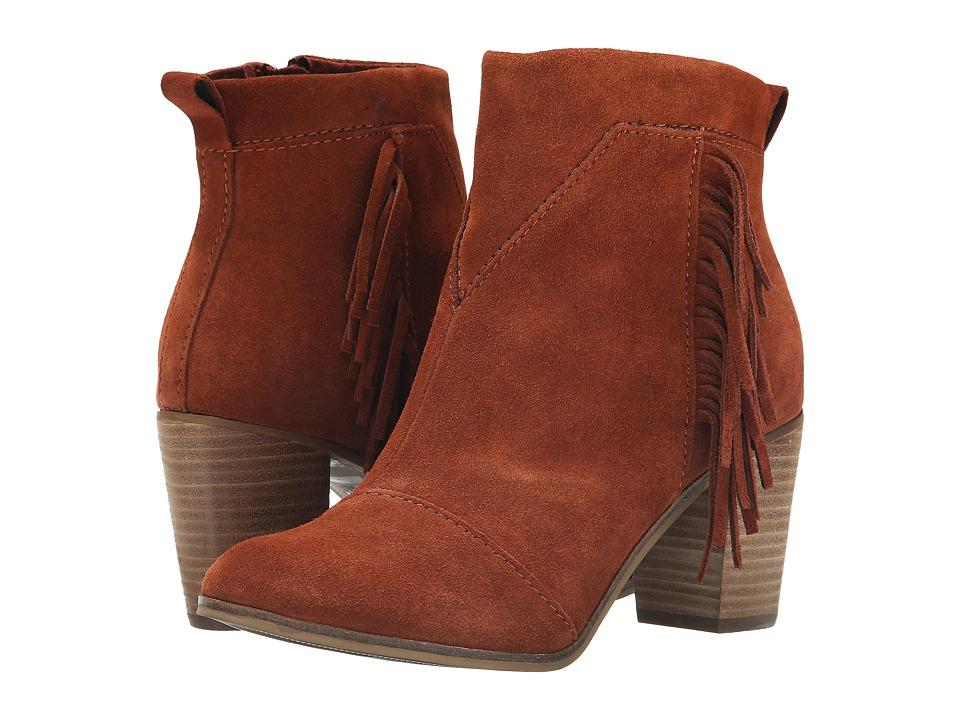 TOMS - Lunata Bootie (Cognac Suede) Women's Zip Boots