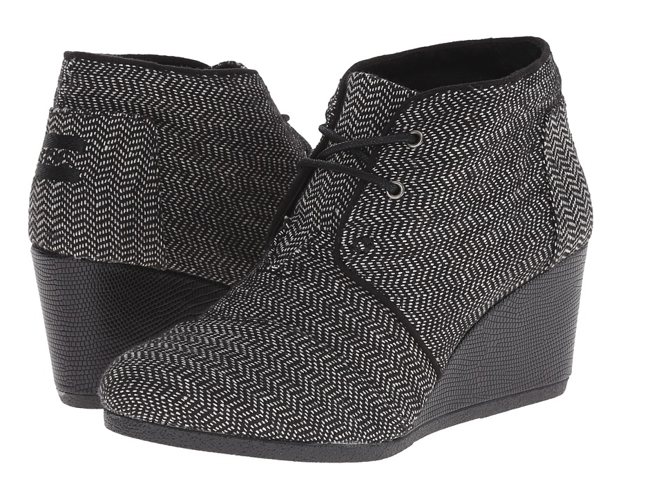 TOMS - Desert Wedge (Black Herringbone) Women's Wedge Shoes