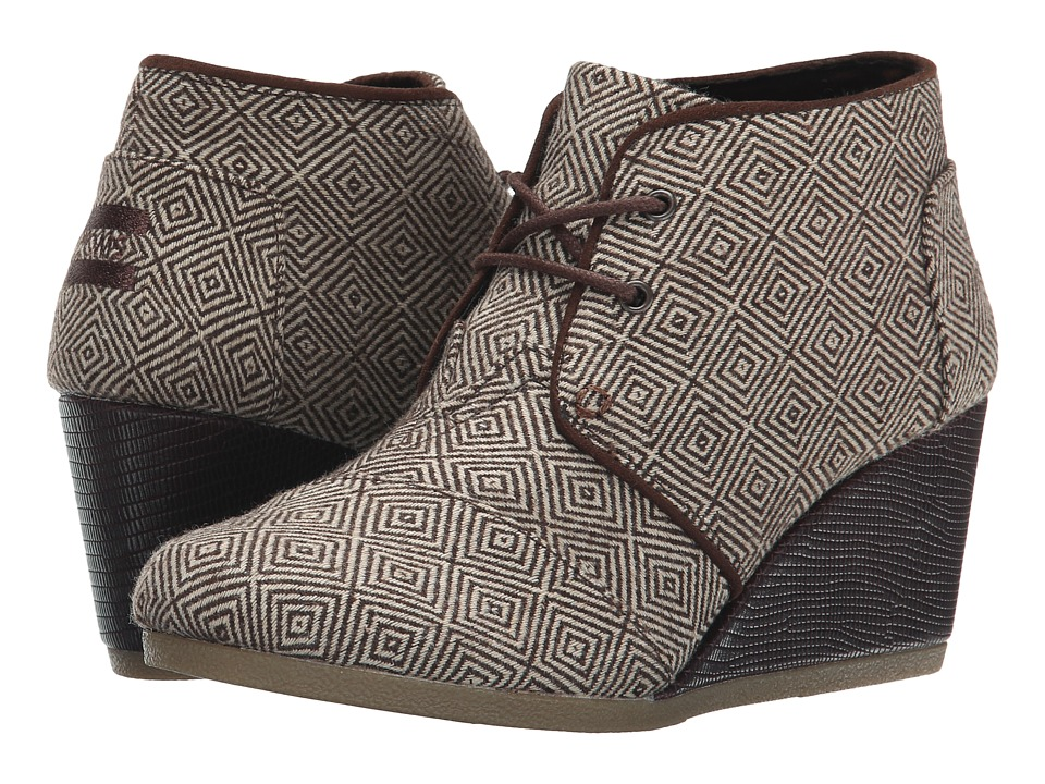 TOMS - Desert Wedge (Brown Woven Diamond) Women's Wedge Shoes
