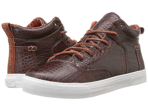 TOMS - Camila High (Brown Leather Croc Emboss) Women
