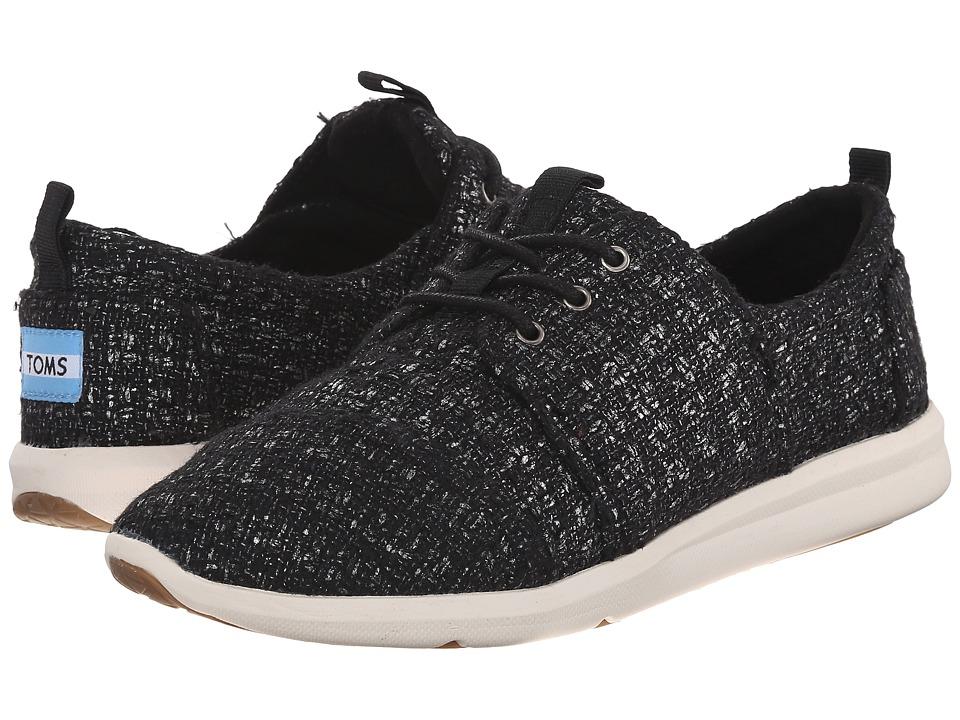 TOMS - Del Rey Sneaker (Black Glitter Wool) Women's Lace up casual Shoes