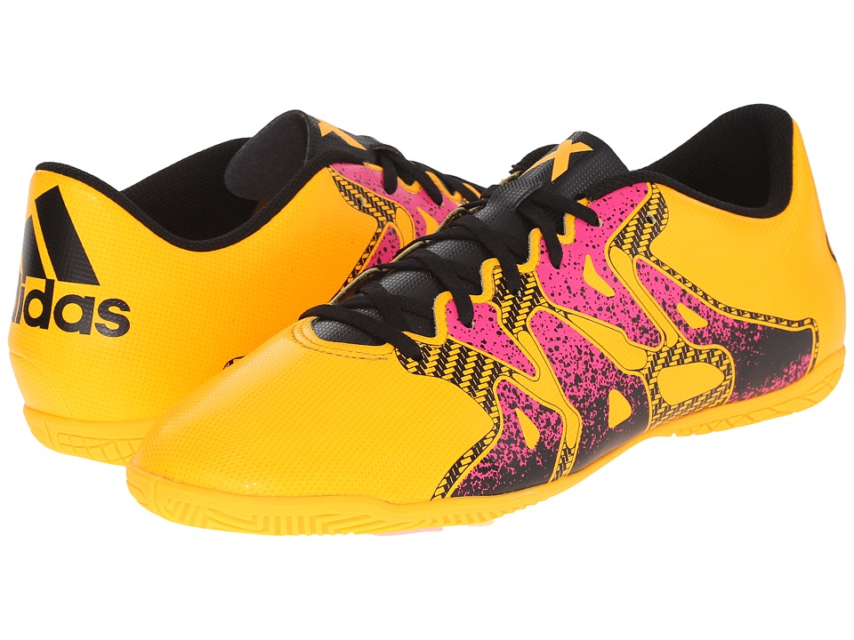 adidas - X 15.4 IN (Solar Gold/Black/Shock Pink) Men's Soccer Shoes