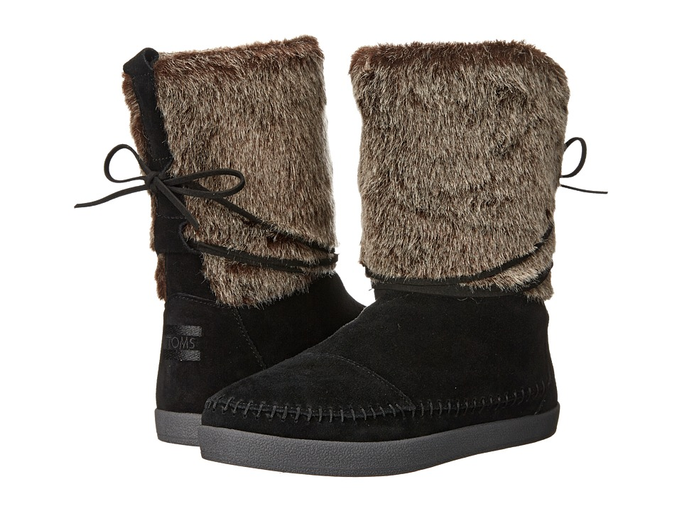 TOMS - Nepal Boot (Black Suede Faux Hair) Women's Pull-on Boots