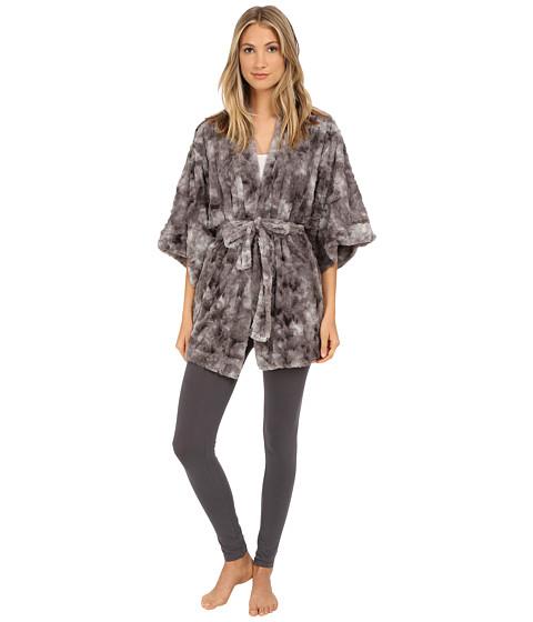 Natori - Faux Fur Kimono (Dark Grey) Women's Robe