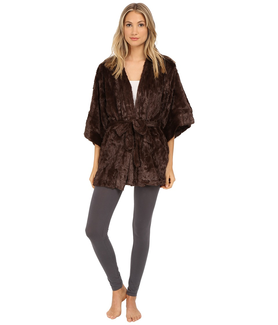 Natori - Faux Fur Kimono (Brown) Women's Robe