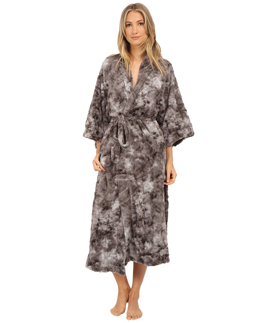 Natori - Faux Fur Robe (Dark Grey) Women's Robe plus size,  plus size fashion plus size appare