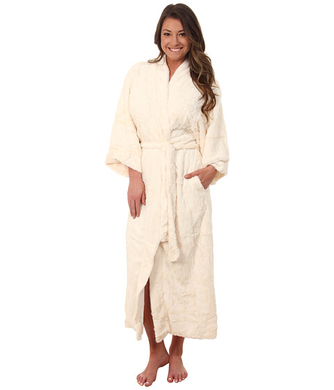 Natori - Faux Fur Robe (White) Women's Robe
