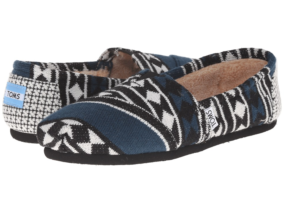 TOMS - Seasonal Classics (Black White Knit Shearling) Women's Slip on Shoes