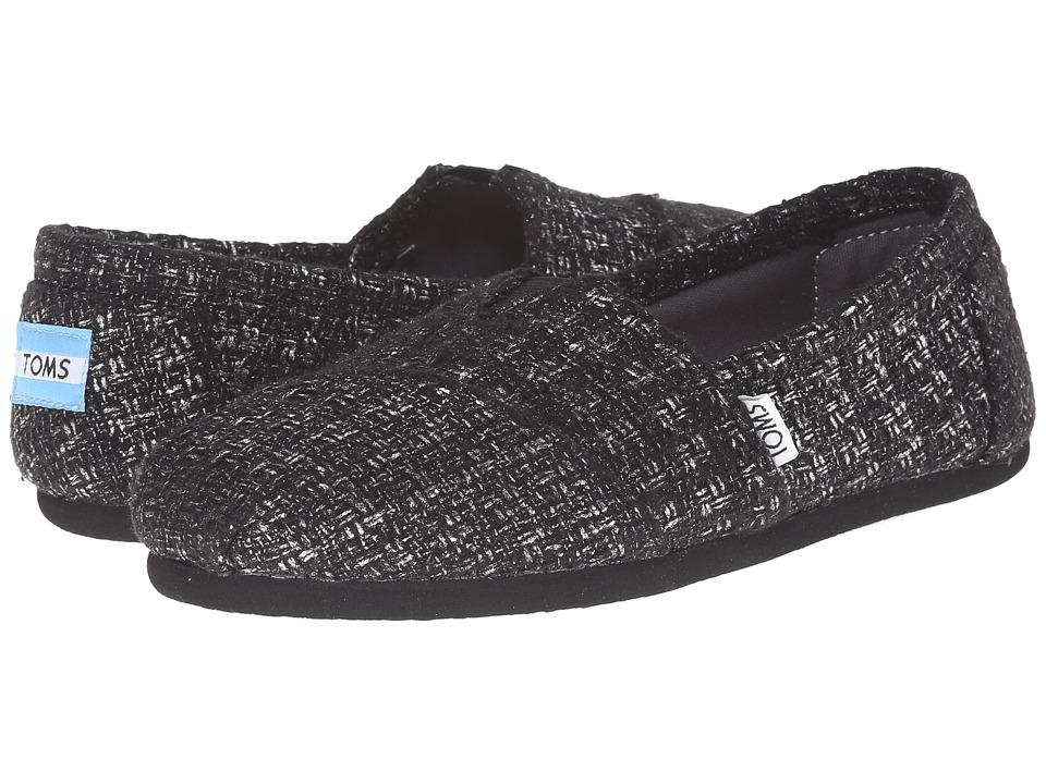 TOMS - Seasonal Classics (Black Glitter Wool) Women's Slip on Shoes