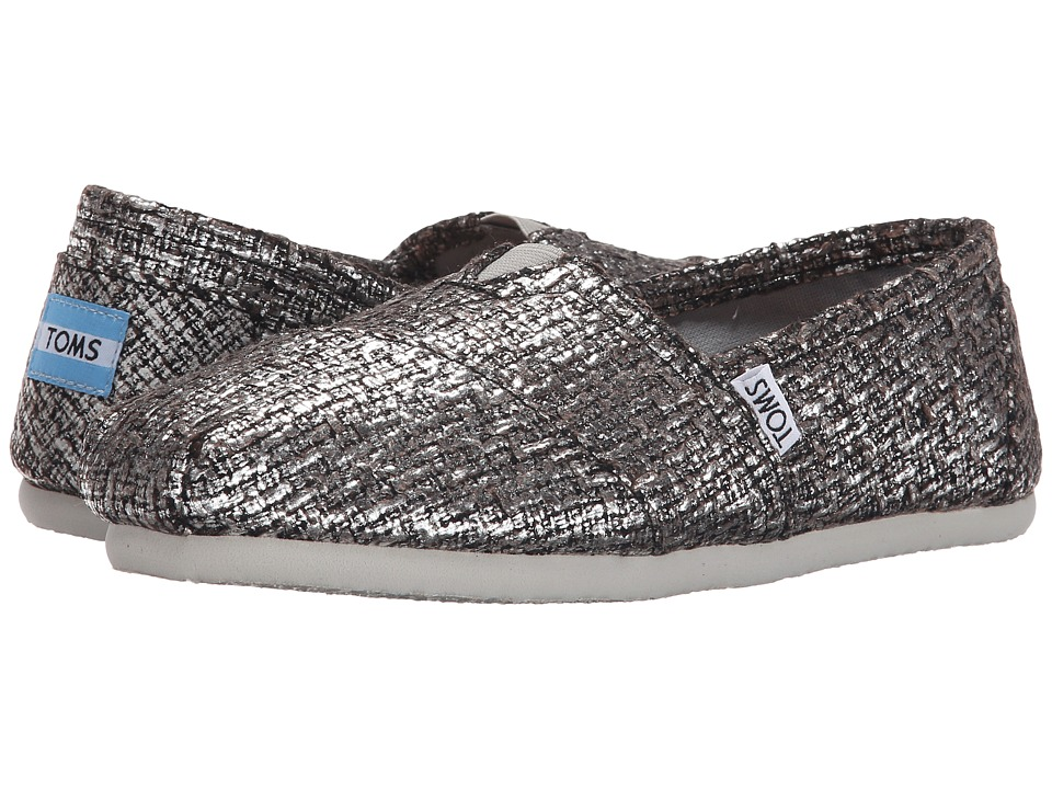 TOMS - Seasonal Classics (Silver Glitter Wool) Women's Slip on Shoes