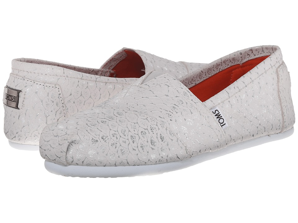 TOMS - Leather Classics (White Silver Leather Scales) Women's Slip on Shoes