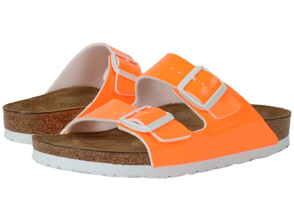 Birkenstock - Arizona (Neon Orange Patent Birko-Flor ) Women's Dress Sandals