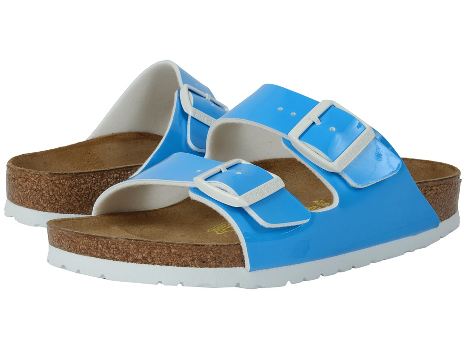Birkenstock - Arizona (Neon Blue Patent Birko-Flor ) Women's Dress Sandals