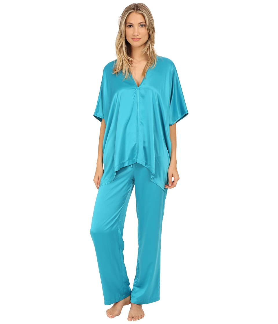 Natori - Charmeuse Tunic Pajama Set (Aurora Blue) Women's Pajama Sets