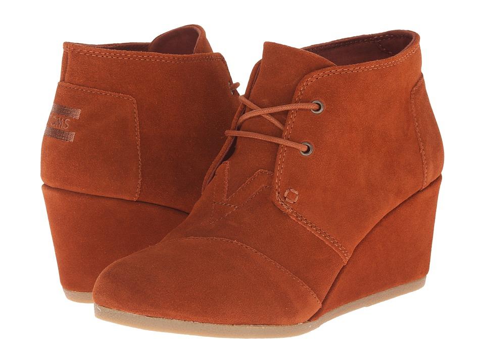 TOMS - Desert Wedge (Cognac Suede) Women's Wedge Shoes