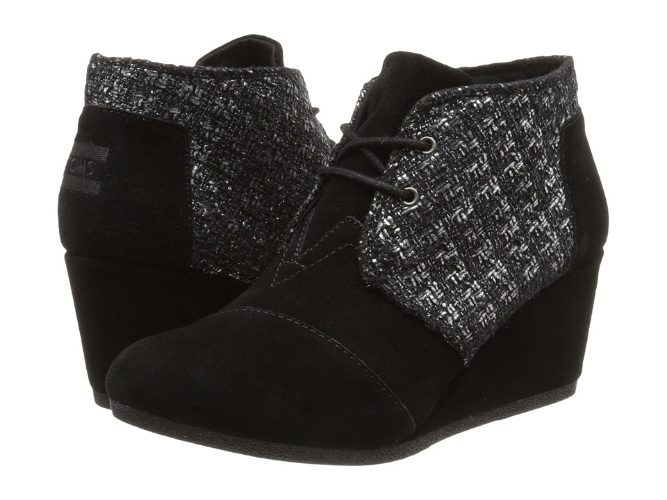 TOMS - Desert Wedge (Black Suede Metallic Boucle) Women