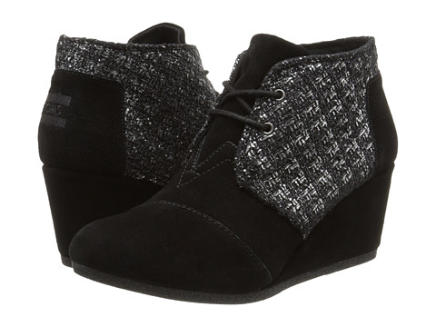 TOMS - Desert Wedge (Black Suede Metallic Boucle) Women's Wedge Shoes