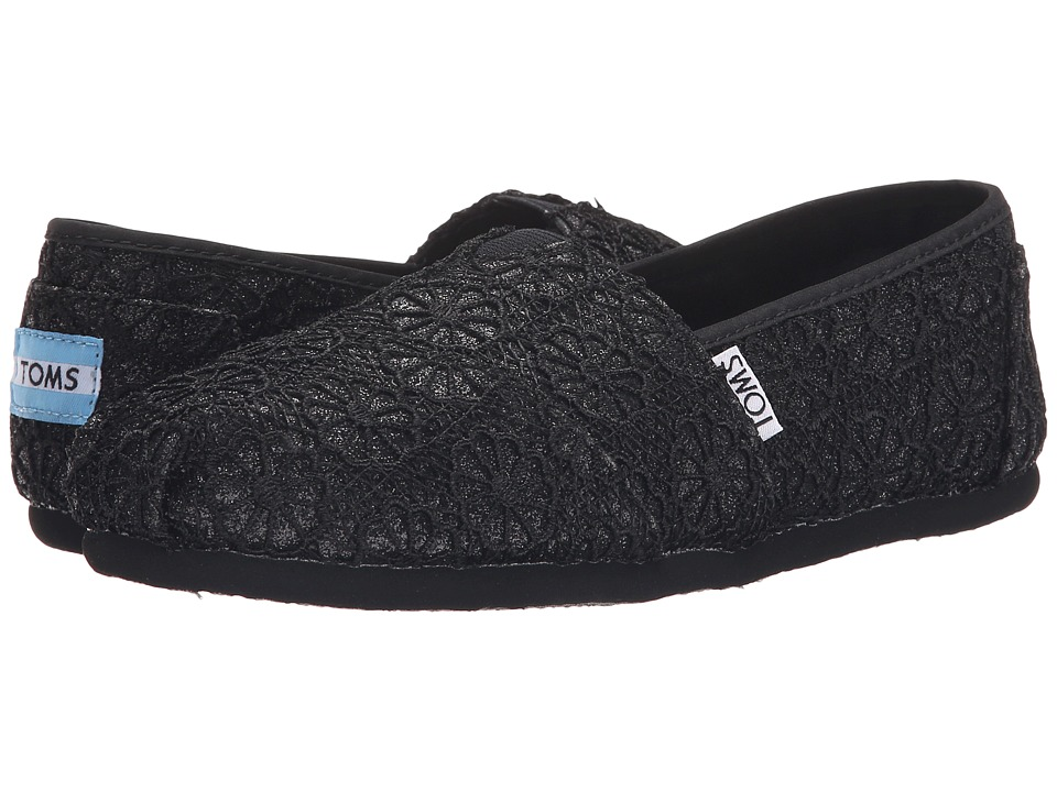 TOMS - Crochet Classics (Black Crochet Glitter) Women's Slip on Shoes