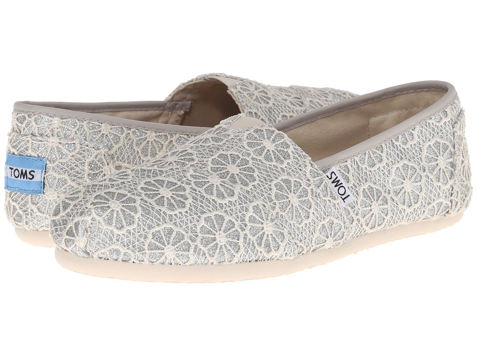 TOMS - Crochet Classics (Silver Crochet Glitter) Women's Slip on Shoes