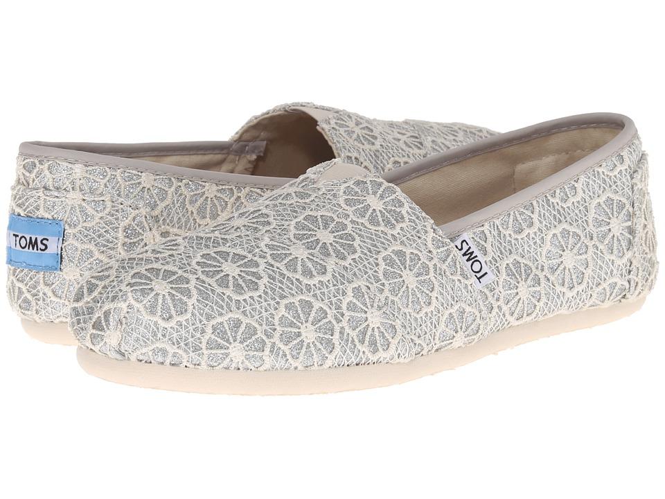 TOMS - Crochet Classics (Silver Crochet Glitter) Women's Slip on Shoes