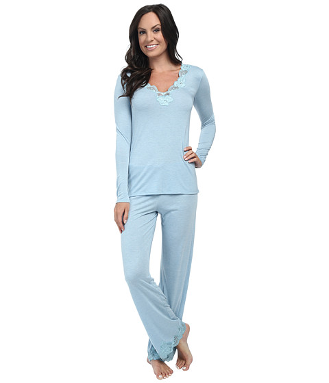 Natori - Zen Floral PJ Set (Hot French Blue w/ Light French Blue Lace) Women's Pajama Sets