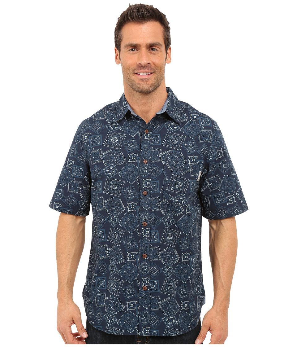 Woolrich - Reissued Printed Shirt (Deep Indigo) Men's Short Sleeve Button Up