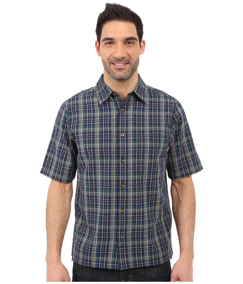 Woolrich - Overlook Dobby Shirt (Deep Indigo) Men's Short Sleeve Button Up