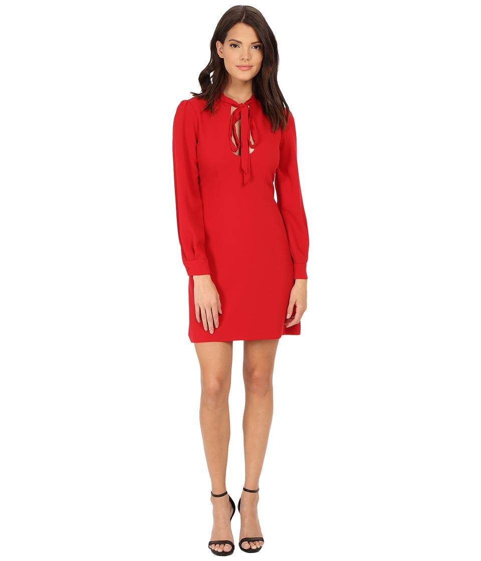 JILL JILL STUART Short Keyhole Long Sleeve Crepy Dress (Garnet) Women