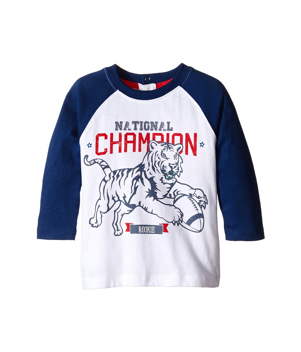 Pumpkin Patch Kids - Raglan Long Sleeve Tee with Print (Infant/Toddler/Little Kids) (Olympian Blue) Boy's Long Sleeve Pullover