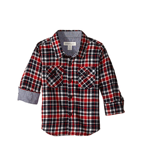 Pumpkin Patch Kids - Check Flannel Shirt (Infant/Toddler/Little Kids) (Blazing Red) Boy's Long Sleeve Pullover