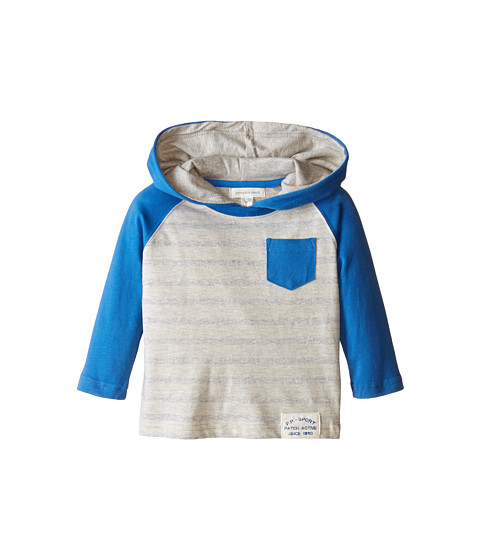 Pumpkin Patch Kids - Wheel Life Stripe Hooded Raglan Tee (Infant/Toddler/Little Kids) (Stratosphere) Boy's Long Sleeve Pullover