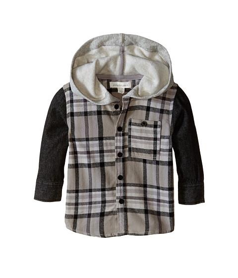 Pumpkin Patch Kids - Street Warrior Denim Sleeve Check Shirt with Hood (Infant/Toddler/Little Kids) (Licorice) Boy