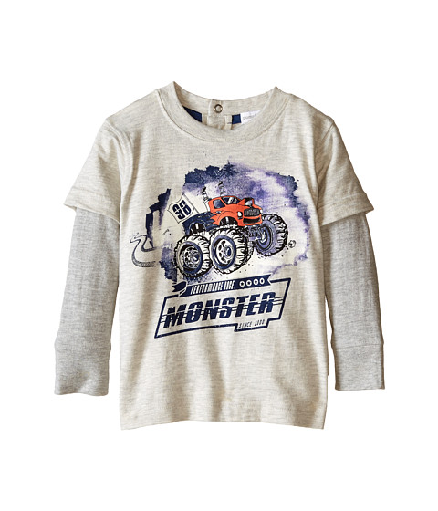 Pumpkin Patch Kids - Wheel Life Short Sleeve Tee with Mock Long Sleeves (Infant/Toddler/Little Kids) (Alabaster Marle) Boy