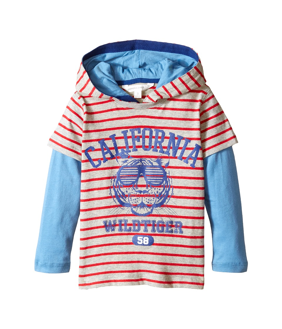 Pumpkin Patch Kids - Stripe Hooded Mock Long Sleeve Tee (Infant/Toddler/Little Kids) (Metal Marle) Boy