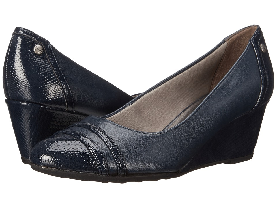 LifeStride - Juliana (Classic Navy Vinci/Snake Patent) Women's Wedge Shoes