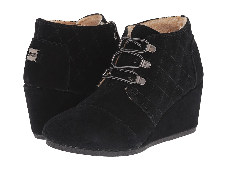 TOMS Desert Wedge (Black Suede W/Shearling) Women