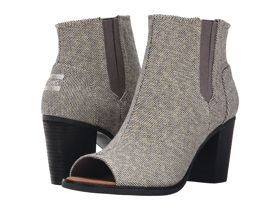 TOMS - Majorca Peep Toe Bootie (Castlerock Grey Metallic Linen) Women's Toe Open Shoes