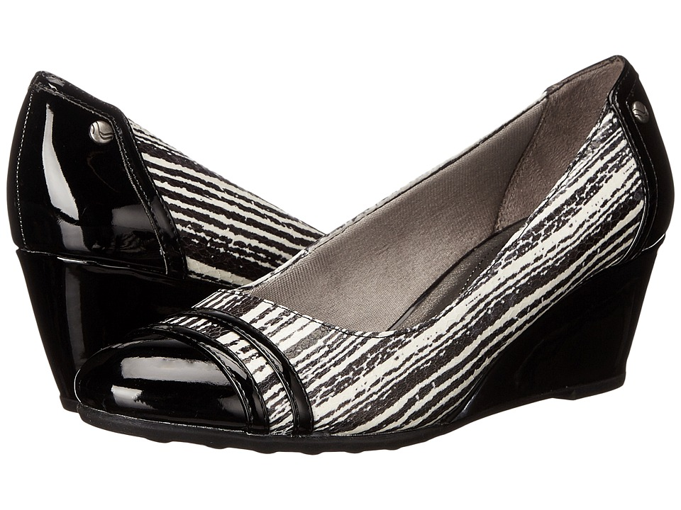 LifeStride - Juliana (Black/White Striped Snake/Gem Patent) Women's Wedge Shoes