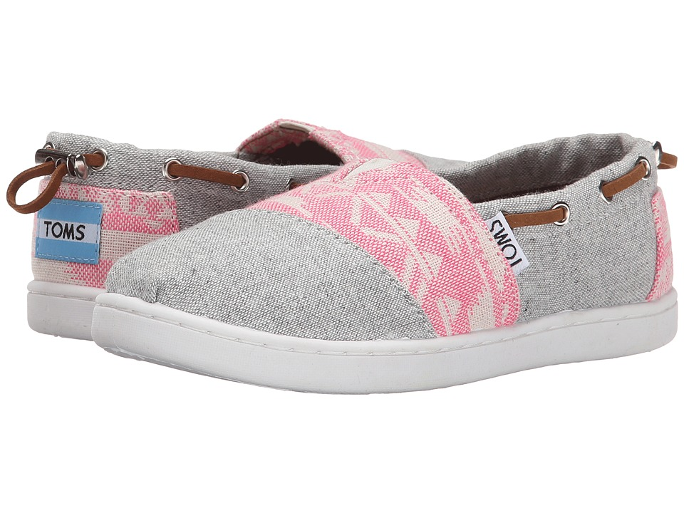 TOMS Kids - Bimini (Little Kid/Big Kid) (Light Grey Chambray/Pink Geo Textile) Kids Shoes