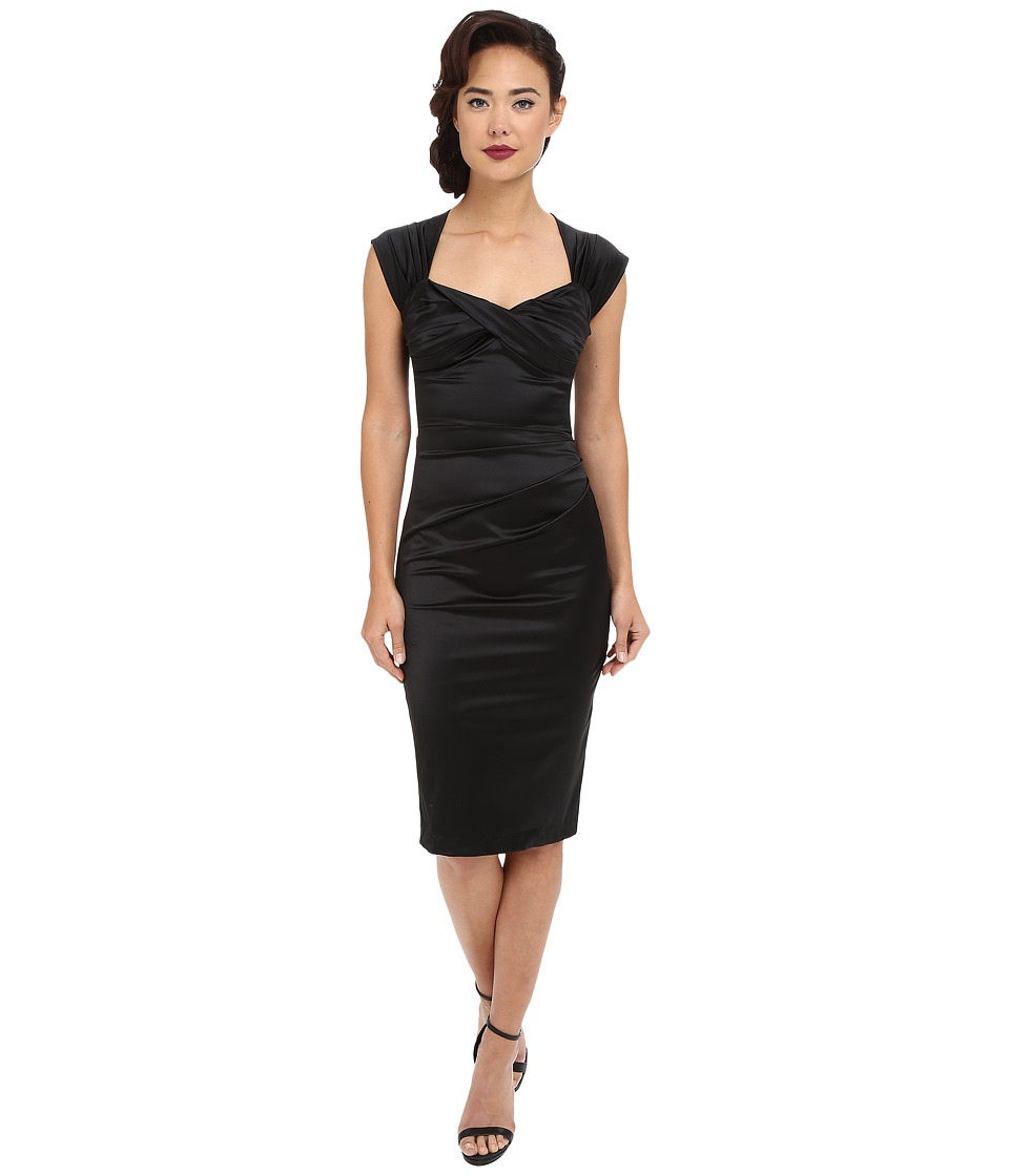 Stop Staring! - Love Fitted Dress (Black Satin) Women's Dress