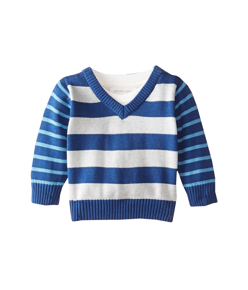 Pumpkin Patch Kids - Stripe Sweater (Infant) (Olympian Blue) Boy
