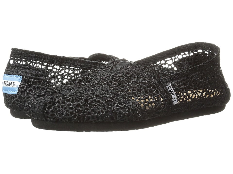 TOMS - Crochet Classics (Black Morocco Crochet) Women's Slip on Shoes