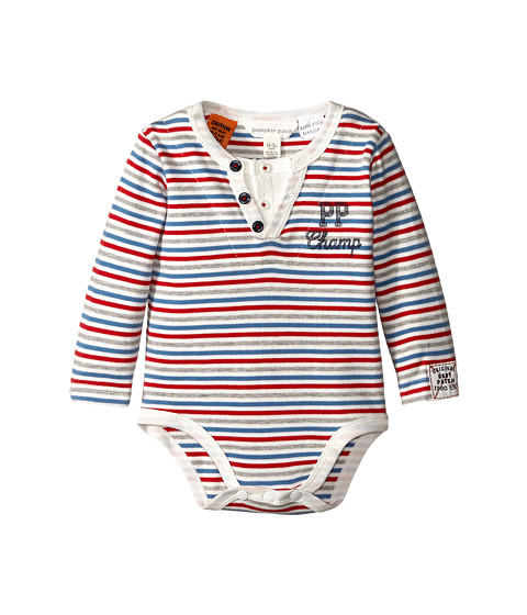 Pumpkin Patch Kids - Stripe Bodysuit (Infant) (Blazing Red) Boy's Jumpsuit & Rompers One Piece