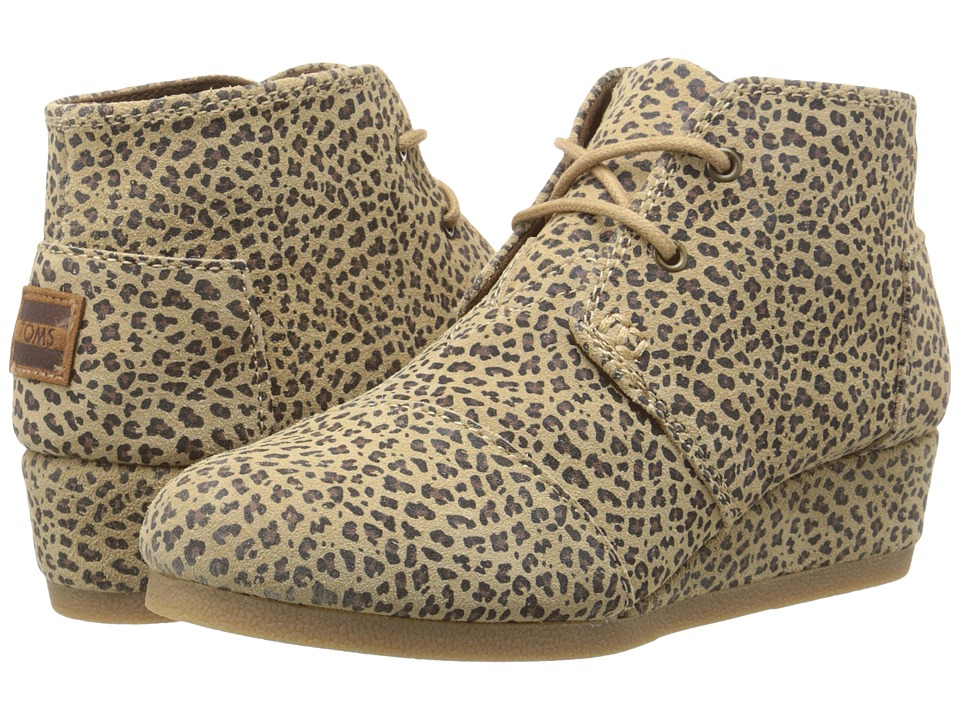 TOMS Kids - Desert Wedge Bootie (Little Kid/Big Kid) (Cheetah Suede) Kids Shoes